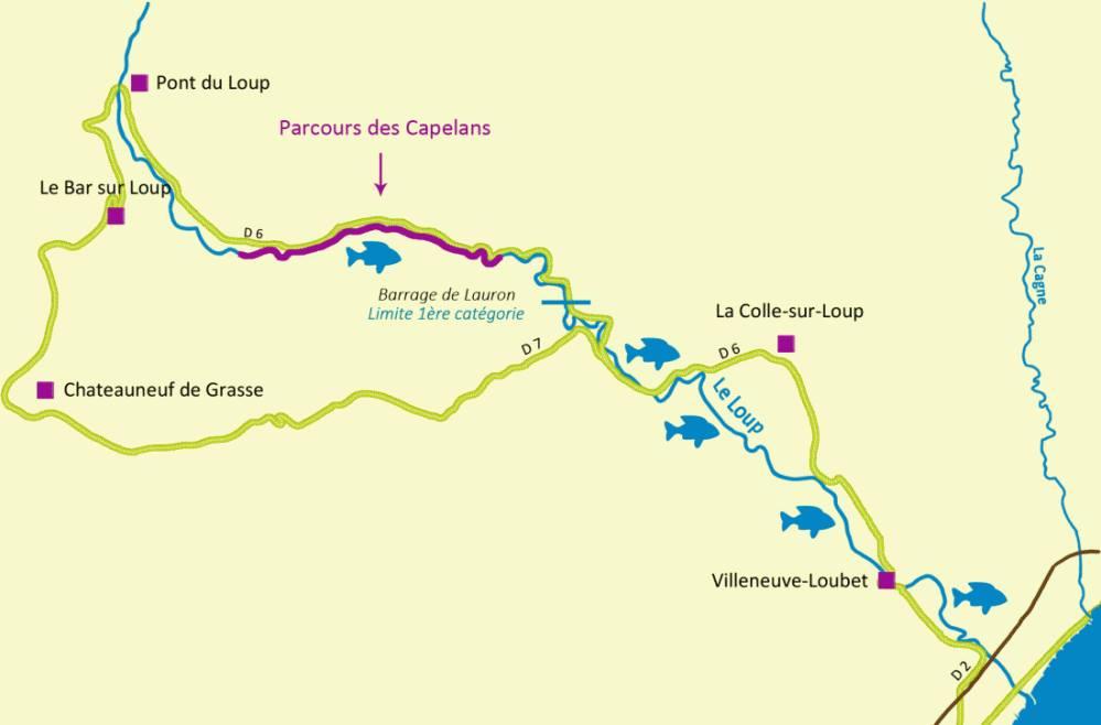 Plan du Loup avec parcours de pêche